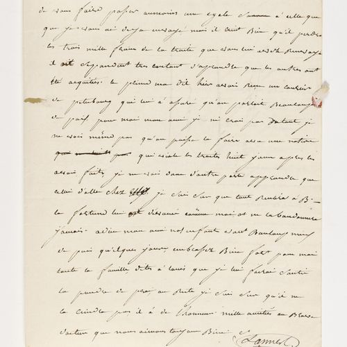 LANNES (JEAN). Autograph letter signed to his father in law François Scholastiqu…