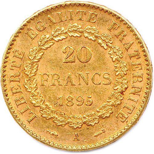 IIIE RÉPUBLIQUE 1870 1940 20 Francs or au Génie 1895 Paris. Very nice.