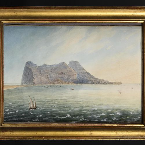 LOUIS PHILIPPE CREPIN (1772 1851) The Rock of Gibraltar. Pen drawing, watercolou…