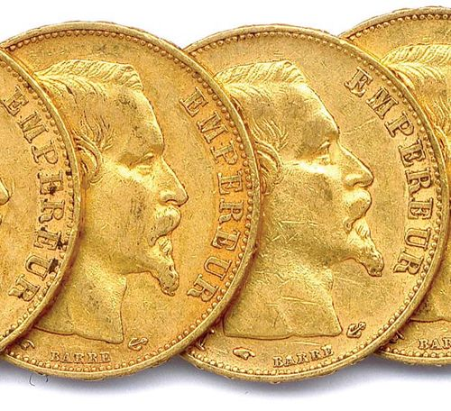NAPOLEON III Lot of nine gold coins 20 francs (bare head) : 1857 Paris (3 ex.), …