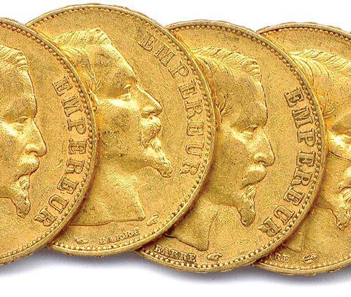 NAPOLEON III Lot of eleven gold coins 20 francs (bare head) : 1855 Paris (5 ex.)…