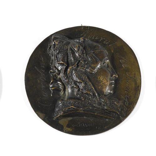 DAVID D'ANGERS Caroline Murat née Bonaparte (1789 1839) in profile. Round bronze…