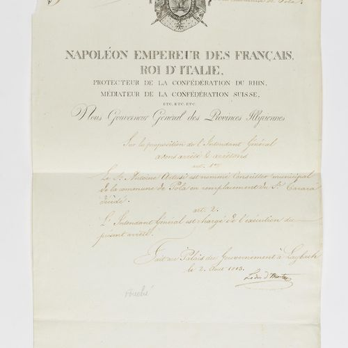 """FOUCHÉ (JOSEPH). Piece signed """"The duke of Otranto"""" as governor general of the I…"""