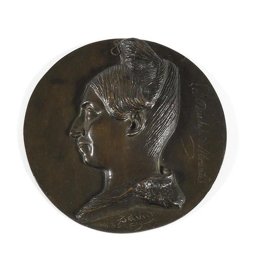 DAVID D'ANGERS The Duchess of Abrantès (1784 1838) in profile. Round bronze meda…