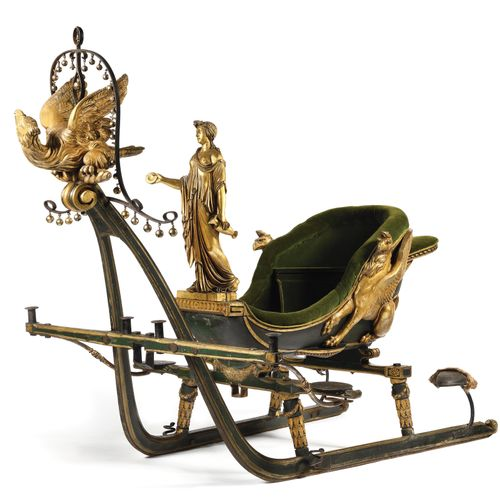 EXTRAORDINARY AND SUPERB SLEIGH HAVING BELONGED TO THE EMPRESS JOSEPHINE. In woo…