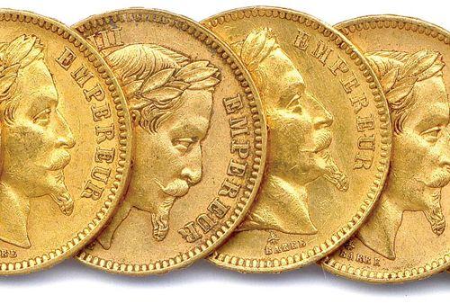 NAPOLEON III Lot of thirteen gold coins 20 Francs (head laurel) : 1861 Paris (3 …