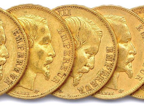 NAPOLEON III Lot of twelve 20 Franc gold coins (bare head) : 1859 Paris (5 ex.),…