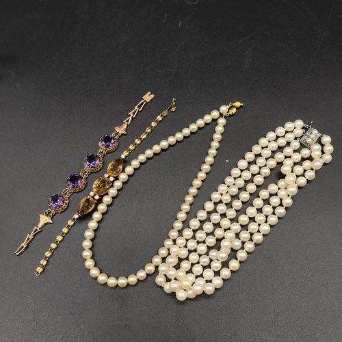 LOT of two necklaces of cultured pearls, one with triple rows of 7.8 mm pearls, …