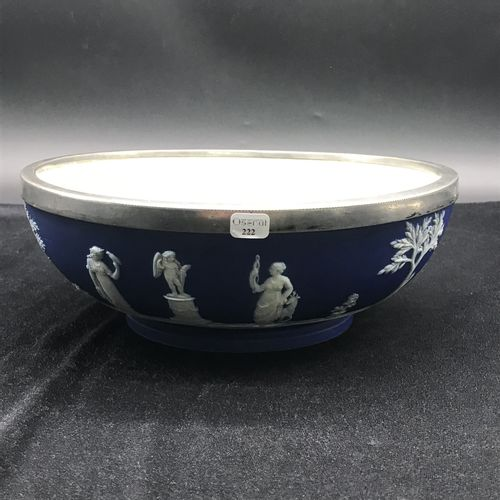 WEDGWOOD  Glazed earthenware salad bowl with metal ring on the inside.  TBE  Dia…