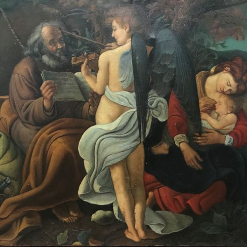 Rest during the flight to Egypt  Oil on canvas  According to Caravaggio  60 x 75…