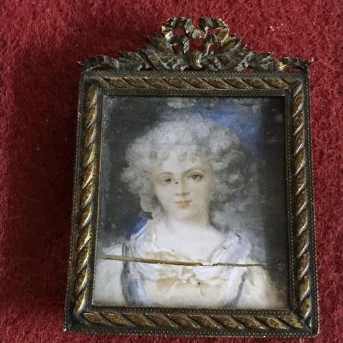 Two framed MINIATURES :   Portrait of a woman (slit)   The Closet after Fragonar…