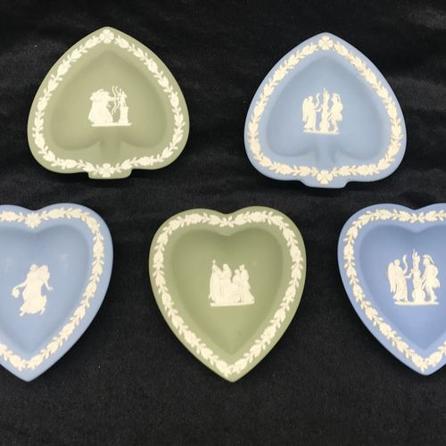 WEDGWOOD  Five heart shaped saucers and spades with applied decoration.  TBE
