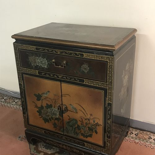 Small Chinese FURNITURE opening by two doors and a drawer.  BE, hooks on the top…