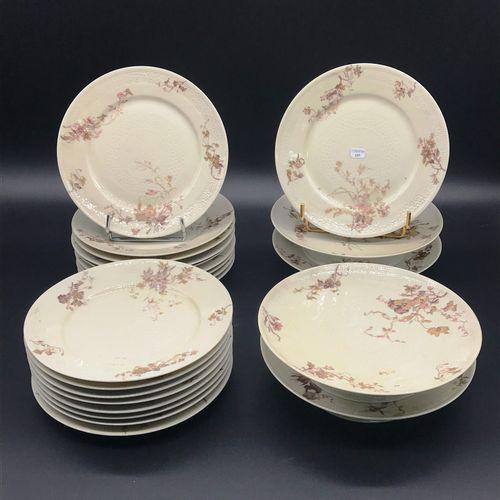 WARRIOR HALBOUT  Cream porcelain dessert service with flower enamel decoration c…