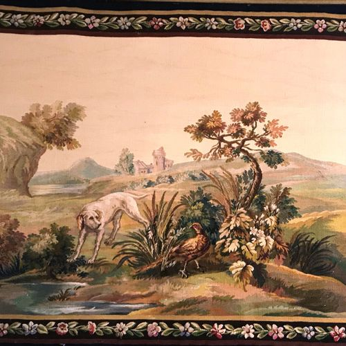 AUBUSSON  Pair of framed tapestries  Hunting dog  90 x 120 cm  BE, small wear an…