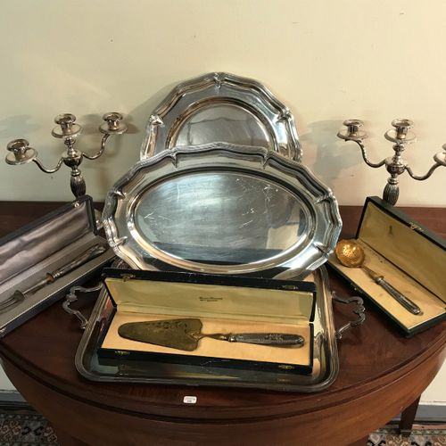 Lot of silver plated metal  comprising two dishes and a Christofle tray.  Pair o…