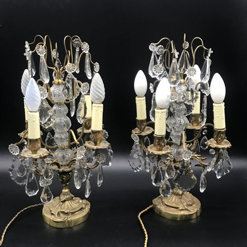 Pair of GIRANDOLES  in gilt bronze and Louis XV style 4 lights pendants  Height …