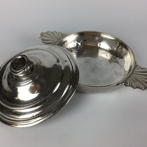 """C.T.B."""" monogrammed plain silver cover on lid and body. The lid has a rolled and…"""
