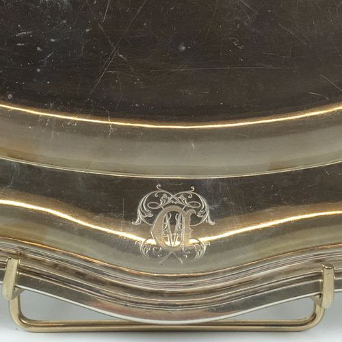 Oval silver platter with a moving and encrypted outline. Hallmark Minerve Master…