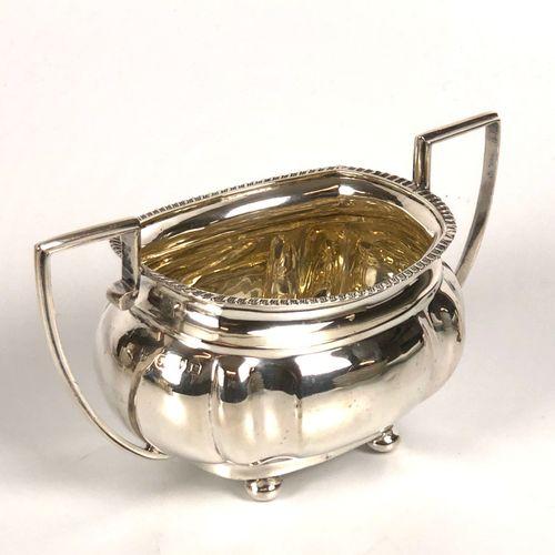 English silver set including : three pourers one sugar bowl one cream pot Gross …