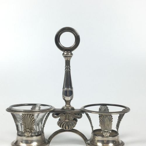 PAIR OF DOUBLE SALERONS in openwork silver and chiselled with palmettes, the cen…