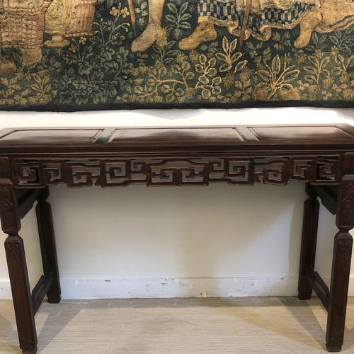 CHINA Large hardwood console with openwork belt of rinceaux and lingzhi, the top…