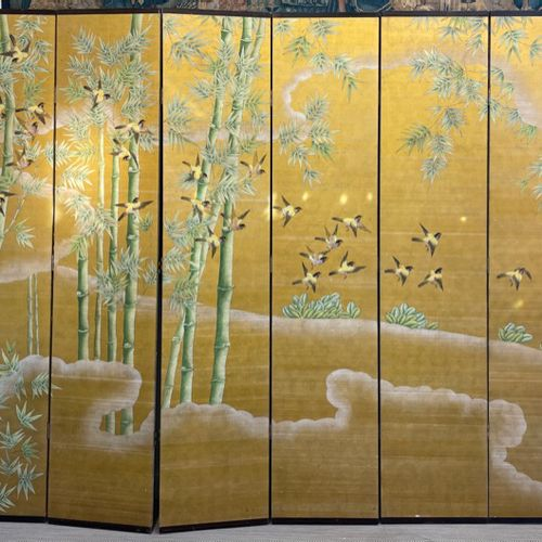 JAPAN Six panel silk screen painted on a yellow background decorated with bamboo…