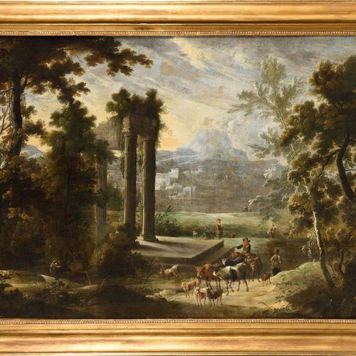 Adrien Frans Van BOUDEWINS (1644 1711) (Attributed to) Returning of the herd nea…