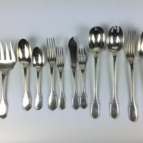 PART OF HOUSEHOLD in silver including : Twelve dessert place settings Twelve fis…