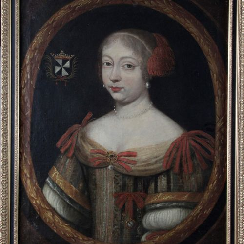 FRENCH SCHOOL circa 1640 Portrait of a lady with red ribbons Original canvas Hei…