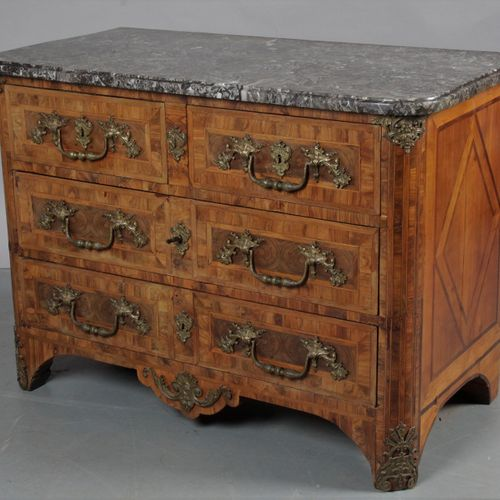 Dauphiné COMMODE, made of native wood veneer in foliage and end wood with geomet…
