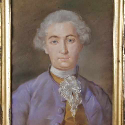 "FRENCH SCHOOL, 18th century. ""Presumed portrait of Louis XV"" Pastel under glass.…"