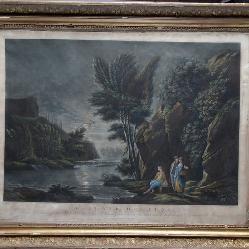 """After J. VERNET, published on May 1st 1801. """"The moonlight"""" engraving in colors.…"""