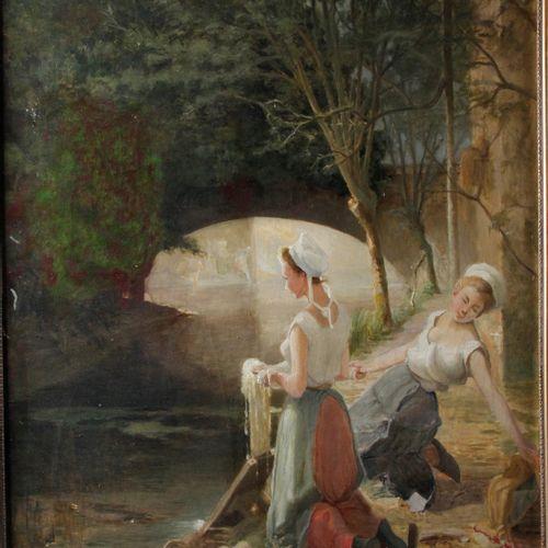 """Paul Louis MARTIN DES AMOIGNES (1850 1925) """" Les Lavandières """" Oil on canvas sig…"""