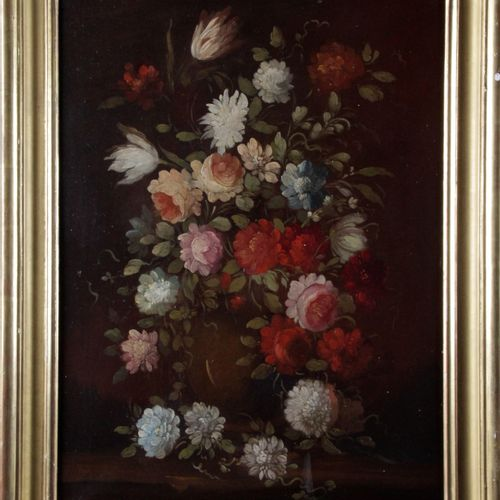 """FRENCH SCHOOL in the taste of the 18th century. """"Bouquet of flowers on an entabl…"""