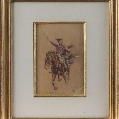 """School of the XIX century """" The hussar"""" Watercolor signed in lower left 13 x 9 c…"""