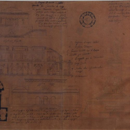 Italian school of the XIX century Architectural project for a Library. India ink…