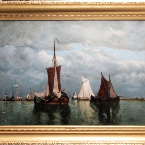 "Dutch school, 19th century. ""Oil on canvas, monogrammed lower left. 73 x 109 cm …"