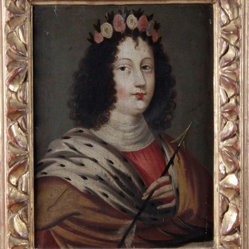 "18th century FRENCH SCHOOL. ""Portait d'homme à la couronne et à la flèche"" Oil o…"
