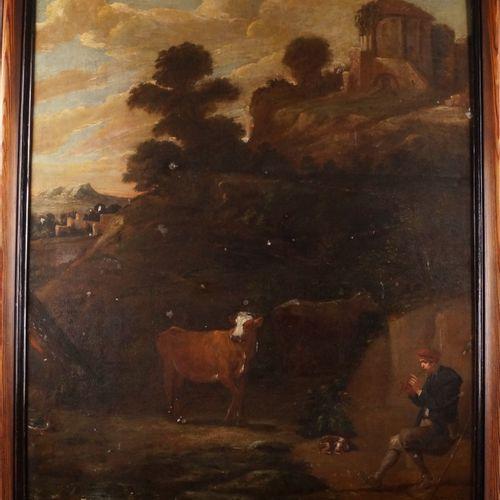 FLEMISH SCHOOL circa 1700, follower of David TENIERS PASSENGER PLAYING THE FLUTE…