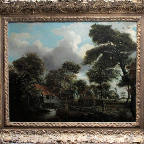 """Surrounding Meindert HOBBEMA (1638 1709) """" Landscape with a thatched cottage """" P…"""