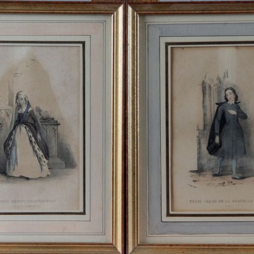 SET OF SEVEN COLOUR LITHOGRAPHIC ENGRAVINGS, illustrating the people of France i…
