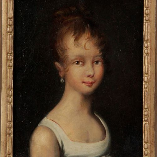 """FRENCH SCHOOL OF THE XIXth CENTURY. """"Portrait of a young girl"""" Oil on canvas 27 …"""