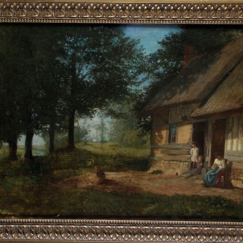 """French school of the XIX century. """"Family in front of the thatched cottage"""" Oil …"""