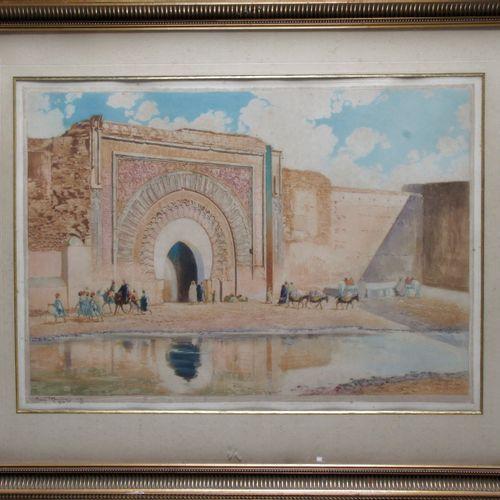 """Maurice ROMBERG DE VAUCORBEIL (1861/62 1943) """"La porte Bab Mansour à Meknès"""" Aqu…"""