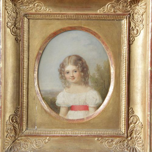 """SCHOOL, PROBABLY SWISS OF THE 19TH CENTURY. """"Portrait of a young girl"""" Oil on ca…"""