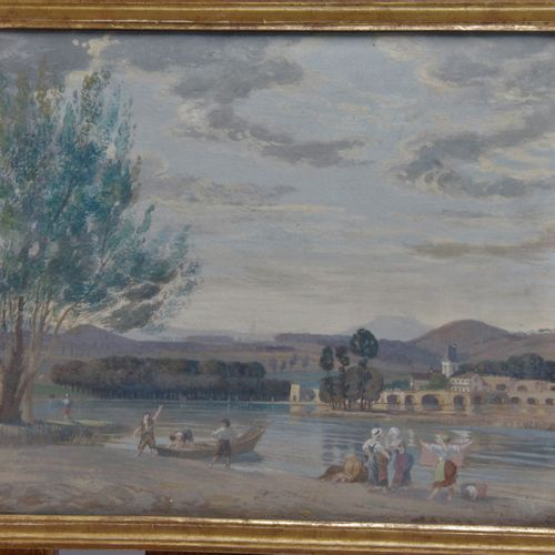 """FRENCH ECOLE of the late 18th or early 19th century. """"Gouache on cardboard. 27.5…"""