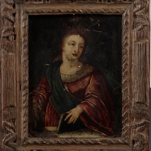 Flemish school of the XVIIIth century Saint Elisabeth of Hungary (?) Copper Heig…