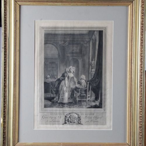 """L'INNOCENCE EN DANGER"" Engraved after the work of Nicolas Lavreince by Coquet. …"