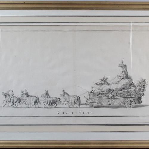 "SET OF THREE ENGRAVINGS FIGURING "" The chariot of the city "" "" The chariot of Ce…"